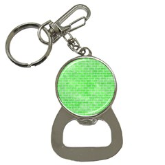 Brick1 White Marble & Green Watercolor Bottle Opener Key Chains