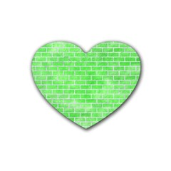 Brick1 White Marble & Green Watercolor Heart Coaster (4 Pack)