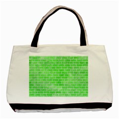 Brick1 White Marble & Green Watercolor Basic Tote Bag (two Sides)