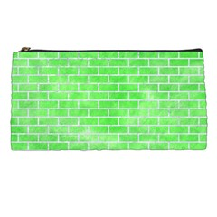 Brick1 White Marble & Green Watercolor Pencil Cases by trendistuff