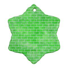 Brick1 White Marble & Green Watercolor Ornament (snowflake)