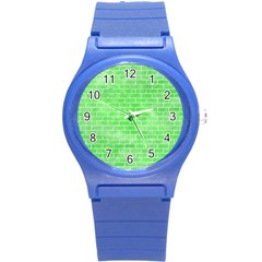 Brick1 White Marble & Green Watercolor Round Plastic Sport Watch (s)