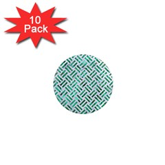 Woven2 White Marble & Green Marble (r) 1  Mini Magnet (10 Pack)