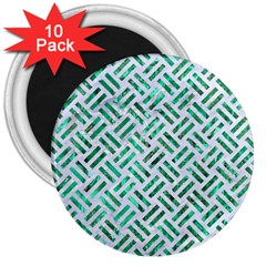 Woven2 White Marble & Green Marble (r) 3  Magnets (10 Pack)