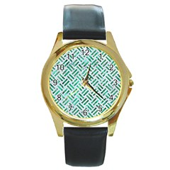 Woven2 White Marble & Green Marble (r) Round Gold Metal Watch