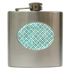 Woven2 White Marble & Green Marble (r) Hip Flask (6 Oz)