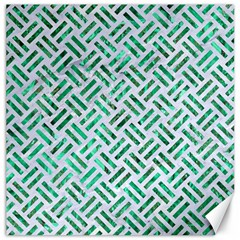 Woven2 White Marble & Green Marble (r) Canvas 12  X 12
