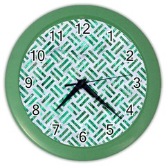 Woven2 White Marble & Green Marble (r) Color Wall Clock