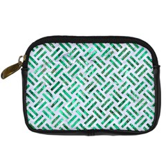 Woven2 White Marble & Green Marble (r) Digital Camera Cases