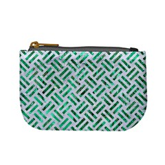 Woven2 White Marble & Green Marble (r) Mini Coin Purses