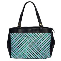 Woven2 White Marble & Green Marble (r) Office Handbags
