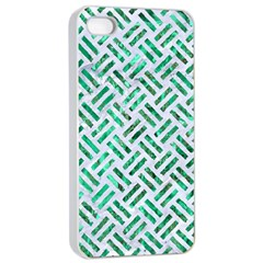 Woven2 White Marble & Green Marble (r) Apple Iphone 4/4s Seamless Case (white)