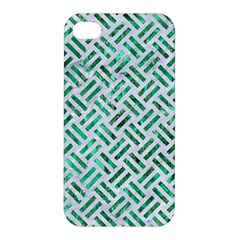 Woven2 White Marble & Green Marble (r) Apple Iphone 4/4s Hardshell Case