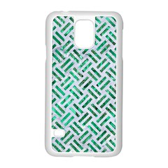 Woven2 White Marble & Green Marble (r) Samsung Galaxy S5 Case (white)