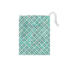 Woven2 White Marble & Green Marble (r) Drawstring Pouches (small)