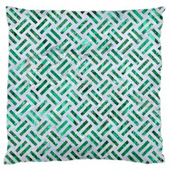 Woven2 White Marble & Green Marble (r) Large Flano Cushion Case (two Sides)