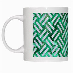 Woven2 White Marble & Green Marble White Mugs
