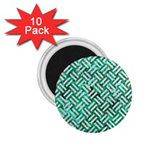 Woven2 White Marble & Green Marble 1 75  Magnets (10 Pack)