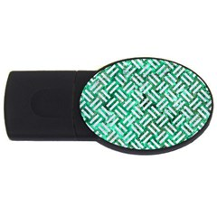 Woven2 White Marble & Green Marble Usb Flash Drive Oval (2 Gb)
