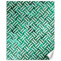 Woven2 White Marble & Green Marble Canvas 11  X 14