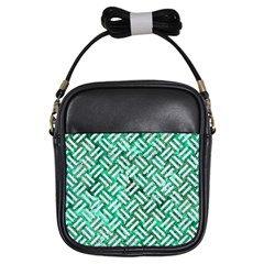 Woven2 White Marble & Green Marble Girls Sling Bags