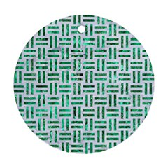 Woven1 White Marble & Green Marble (r) Ornament (round)