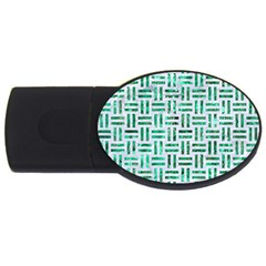 Woven1 White Marble & Green Marble (r) Usb Flash Drive Oval (4 Gb)