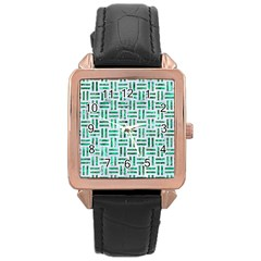 Woven1 White Marble & Green Marble (r) Rose Gold Leather Watch