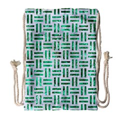 Woven1 White Marble & Green Marble (r) Drawstring Bag (large)