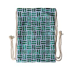 Woven1 White Marble & Green Marble (r) Drawstring Bag (small)