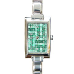 Woven1 White Marble & Green Marble Rectangle Italian Charm Watch