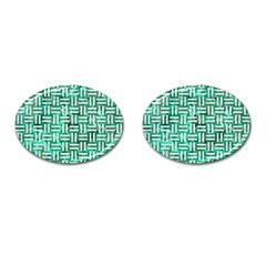 Woven1 White Marble & Green Marble Cufflinks (oval)