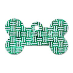 Woven1 White Marble & Green Marble Dog Tag Bone (two Sides)