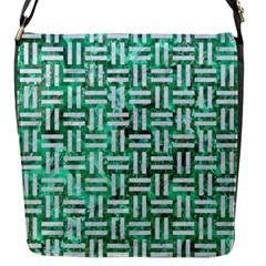Woven1 White Marble & Green Marble Flap Messenger Bag (s)