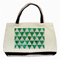 Triangle3 White Marble & Green Marble Basic Tote Bag (two Sides)