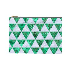 Triangle3 White Marble & Green Marble Cosmetic Bag (large)