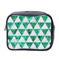 Triangle3 White Marble & Green Marble Mini Toiletries Bag 2 Side