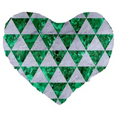 Triangle3 White Marble & Green Marble Large 19  Premium Flano Heart Shape Cushions