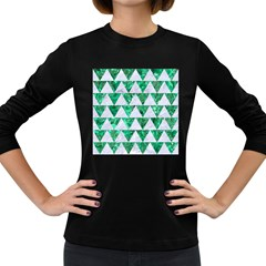 Triangle2 White Marble & Green Marble Women s Long Sleeve Dark T Shirts