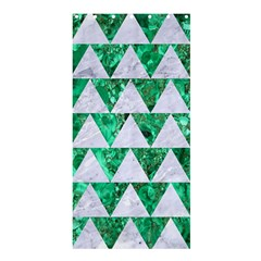 Triangle2 White Marble & Green Marble Shower Curtain 36  X 72  (stall)  by trendistuff