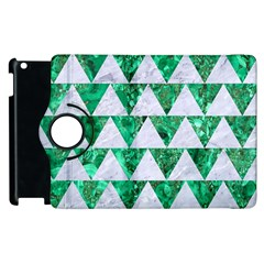 Triangle2 White Marble & Green Marble Apple Ipad 3/4 Flip 360 Case