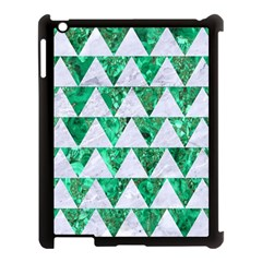 Triangle2 White Marble & Green Marble Apple Ipad 3/4 Case (black)