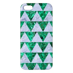 Triangle2 White Marble & Green Marble Apple Iphone 5 Premium Hardshell Case