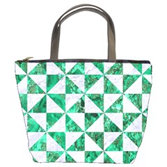 Triangle1 White Marble & Green Marble Bucket Bags