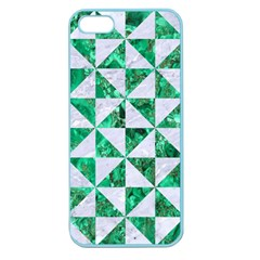 Triangle1 White Marble & Green Marble Apple Seamless Iphone 5 Case (color)