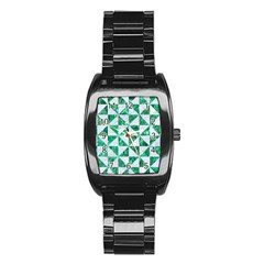 Triangle1 White Marble & Green Marble Stainless Steel Barrel Watch