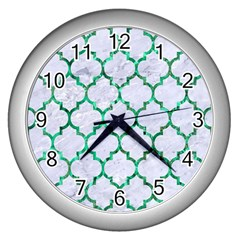 Tile1 (r) White Marble & Green Marble Wall Clock (silver)