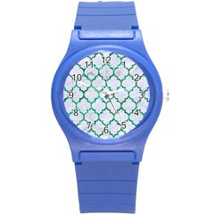 Tile1 (r) White Marble & Green Marble Round Plastic Sport Watch (s)