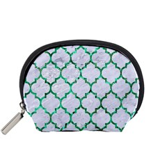 Tile1 (r) White Marble & Green Marble Accessory Pouches (small)  by trendistuff