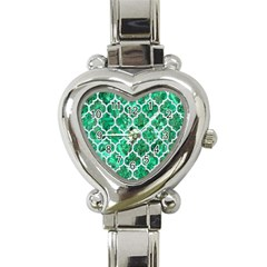Tile1 White Marble & Green Marble Heart Italian Charm Watch